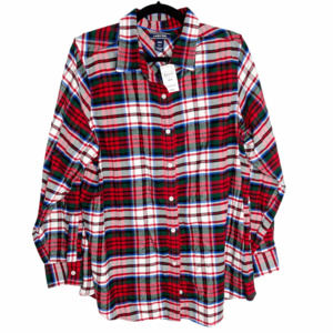 Lands' End Plaid Flannel Collared Button Up 18W